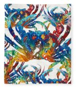 Colorful Crab Collage Art By Sharon Cummings Fleece Blanket