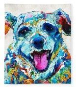 Colorful Dog Art - Smile - By Sharon Cummings Fleece Blanket