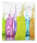Colorful Drink Splashing From Glasses Fleece Blanket