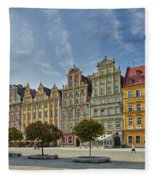 colorful facades on Market Square or Ryneck of Wroclaw Fleece Blanket