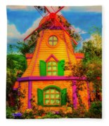 Colorful Fantasy Windmill Fleece Blanket
