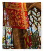 Colorful Flags And Stained Glasss Windows Fleece Blanket