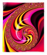 Colorful Fractal Spiral Red Yellow Pink Fleece Blanket