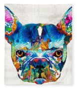 Colorful French Bulldog Dog Art By Sharon Cummings Fleece Blanket