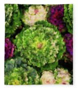 Colorful Green, White And Purple Flowers Painting Fleece Blanket