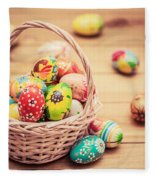 Colorful Hand Painted Easter Eggs In Basket And On Wood Fleece Blanket