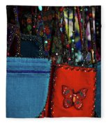 Colorful Hanging Pouches Fleece Blanket