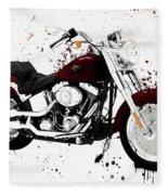 Colorful Harley Davidson Paint Splatter Fleece Blanket