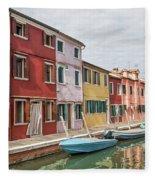 Colorful Houses On The Island Of Burano Fleece Blanket