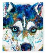 Colorful Husky Dog Art By Sharon Cummings Fleece Blanket