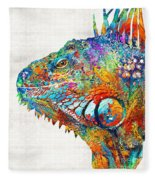 Colorful Iguana Art - One Cool Dude - Sharon Cummings Fleece Blanket