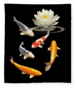 Colorful Koi With Water Lily Fleece Blanket