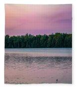 Colorful Lake-side Sunset Fleece Blanket