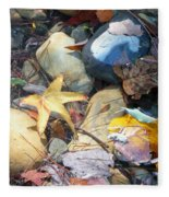 Colorful Leaves And Rocks In Creek Fleece Blanket