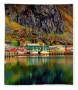Colorful Lofoten, Norway Fleece Blanket