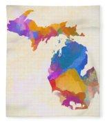 Colorful Michigan Fleece Blanket