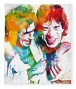 Colorful Mick And Keith Fleece Blanket