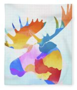 Colorful Moose Head Fleece Blanket