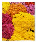 Colorful Mum Flowers Fine Art Abstract Photo Fleece Blanket