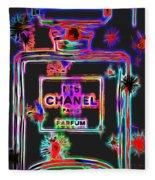 Colorful Neon Chanel Five  Fleece Blanket