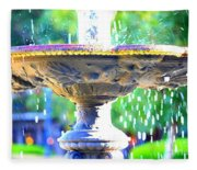 Colorful New Orleans Fountain Fleece Blanket