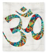Colorful Om Symbol - Sharon Cummings Fleece Blanket