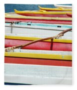 Colorful Outrigger Canoes Fleece Blanket