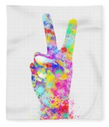 Colorful Painting Of Hand Point Two Finger Fleece Blanket