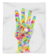Colorful Painting Of Hand Pointing Four Finger Fleece Blanket