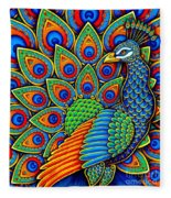Colorful Paisley Peacock Fleece Blanket