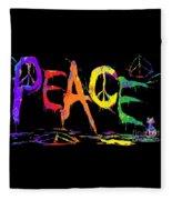 Colorful Peace Cat Fleece Blanket