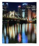 Colorful Pittsburgh Lights Fleece Blanket