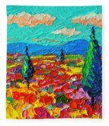 Colorful Poppies Field Abstract Landscape Impressionist Palette Knife Painting By Ana Maria Edulescu Fleece Blanket