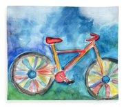 Colorful Ride- Bike Art By Linda Woods Fleece Blanket