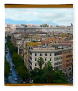 Colorful Rome Cityscape Fleece Blanket