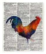 Colorful Rooster On Vintage Dictionary Fleece Blanket by Hailey E Herrera