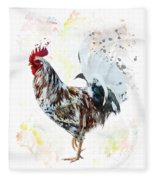 Colorful Rooster Fleece Blanket