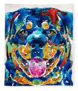 Colorful Rottie Art - Rottweiler By Sharon Cummings Fleece Blanket