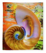 Colorful Seahorse And Nautilus Shell Fleece Blanket