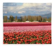 Colorful Skagit Valley Tulip Fields Panorama Fleece Blanket
