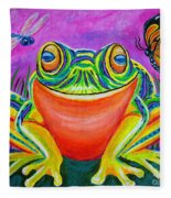 Colorful Smiling Frog-voodoo Frog Fleece Blanket