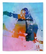 Colorful Snowboarder Paint Splatter Fleece Blanket