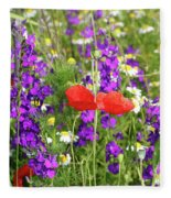 Colorful Spring Wild Flowers Fleece Blanket