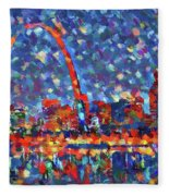 Colorful St Louis Skyline Fleece Blanket