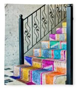 Colorful Stairs Fleece Blanket