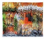 Colorful Street Cafe Fleece Blanket