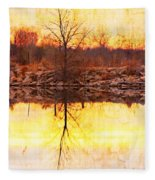Colorful Sunrise Textured Reflections Fleece Blanket