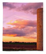 Colorful Sunset In The Country Fleece Blanket