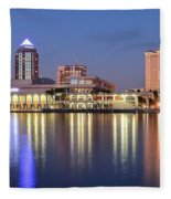Colorful Tampa Panorama Fleece Blanket