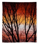 Colorful Tree Branches Fleece Blanket